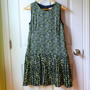 Loft Green and Navy Dropped Hem Dress